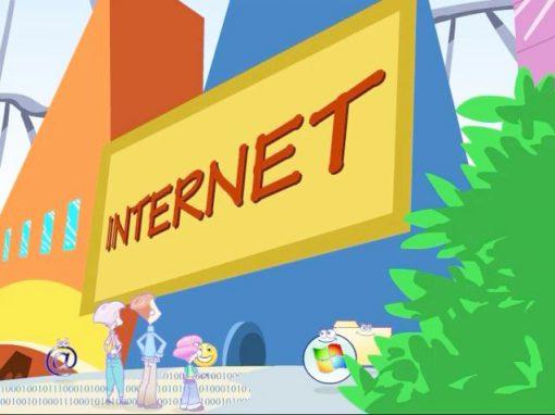 Microsoft. Dibujos animados seguridad infantil en Internet.